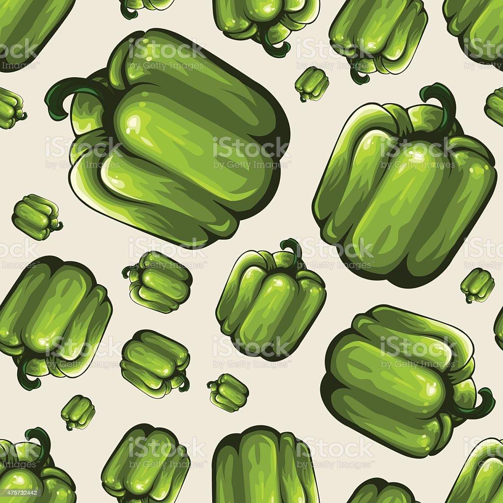 Seamless Vegetable Pattern - Capsicum vector art illustration