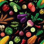 A seamless pattern made out of assorted vegetables. EPS 10 file, layered & grouped, with meshes and transparencies (shadows & overall effects only).