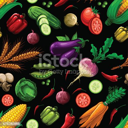 istock Seamless Vegetable Pattern 475280986