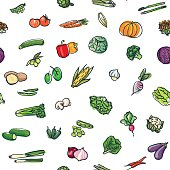Colorful seamless pattern of hand drawn vegetables