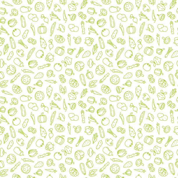 Seamless vegetables icons background Seamless wallpaper background with various vegetable icons, green symbols on transparent background vector illustration scallion stock illustrations