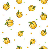 Seamless vegetables set of sweet yellow peppers on white background. Vector illustration.