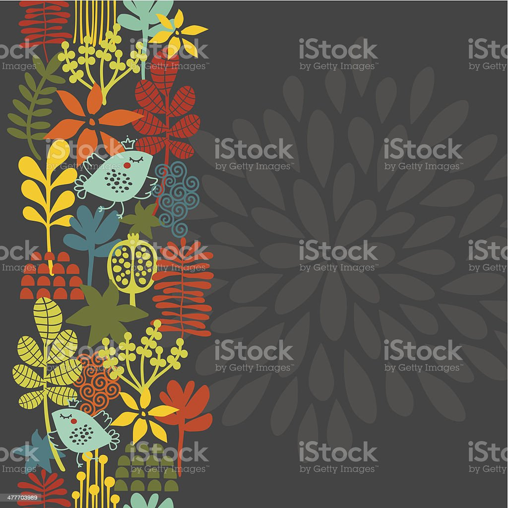 Seamless vertical pattern with bird in crown. vector art illustration