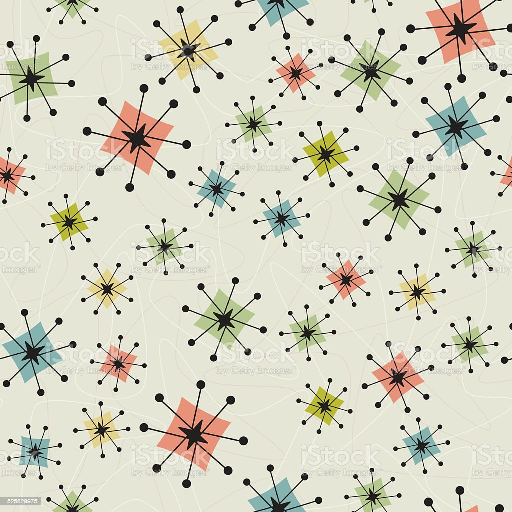 Seamless Vintage Atomic Stars Background vector art illustration