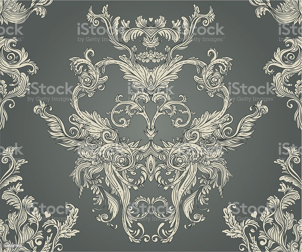 Seamless vintage background brown baroque pattern vector art illustration