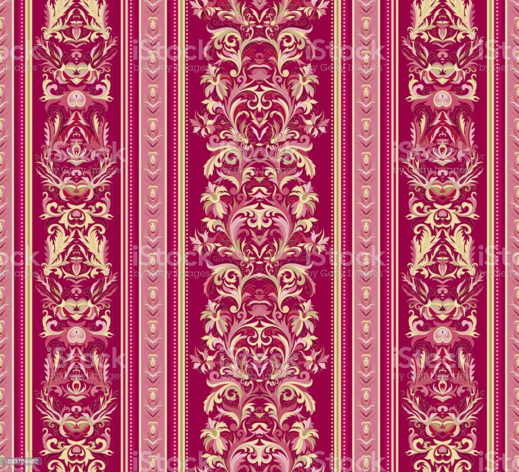 Seamless Vintage Background Royal Renaissance Striped Wallpaper