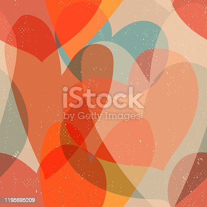 Seamless vintage background with overlapping hearts, warm colors