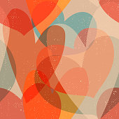 Seamless vintage background with overlapping hearts.