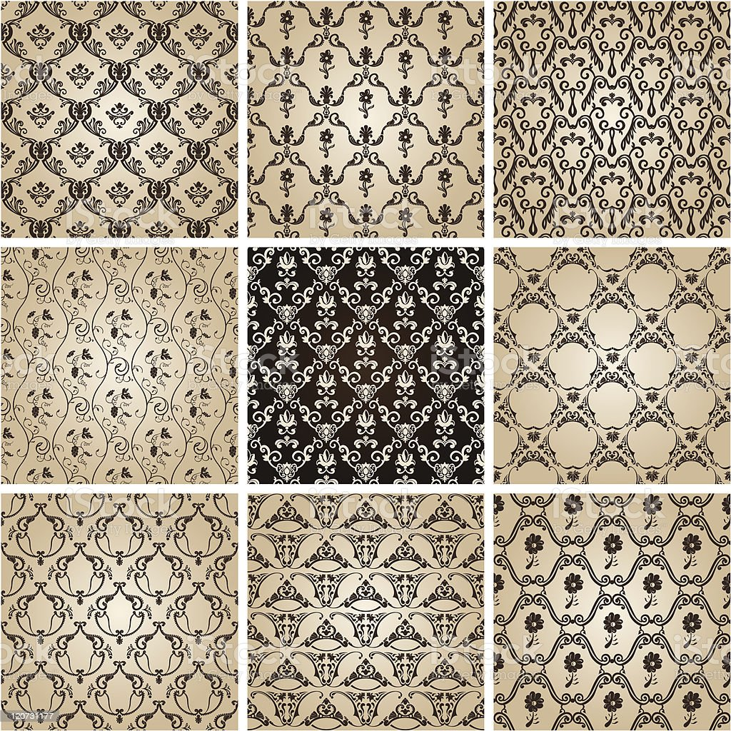 seamless vintage backgrounds set brown baroque wallpaper Vector royalty-free stock vector art
