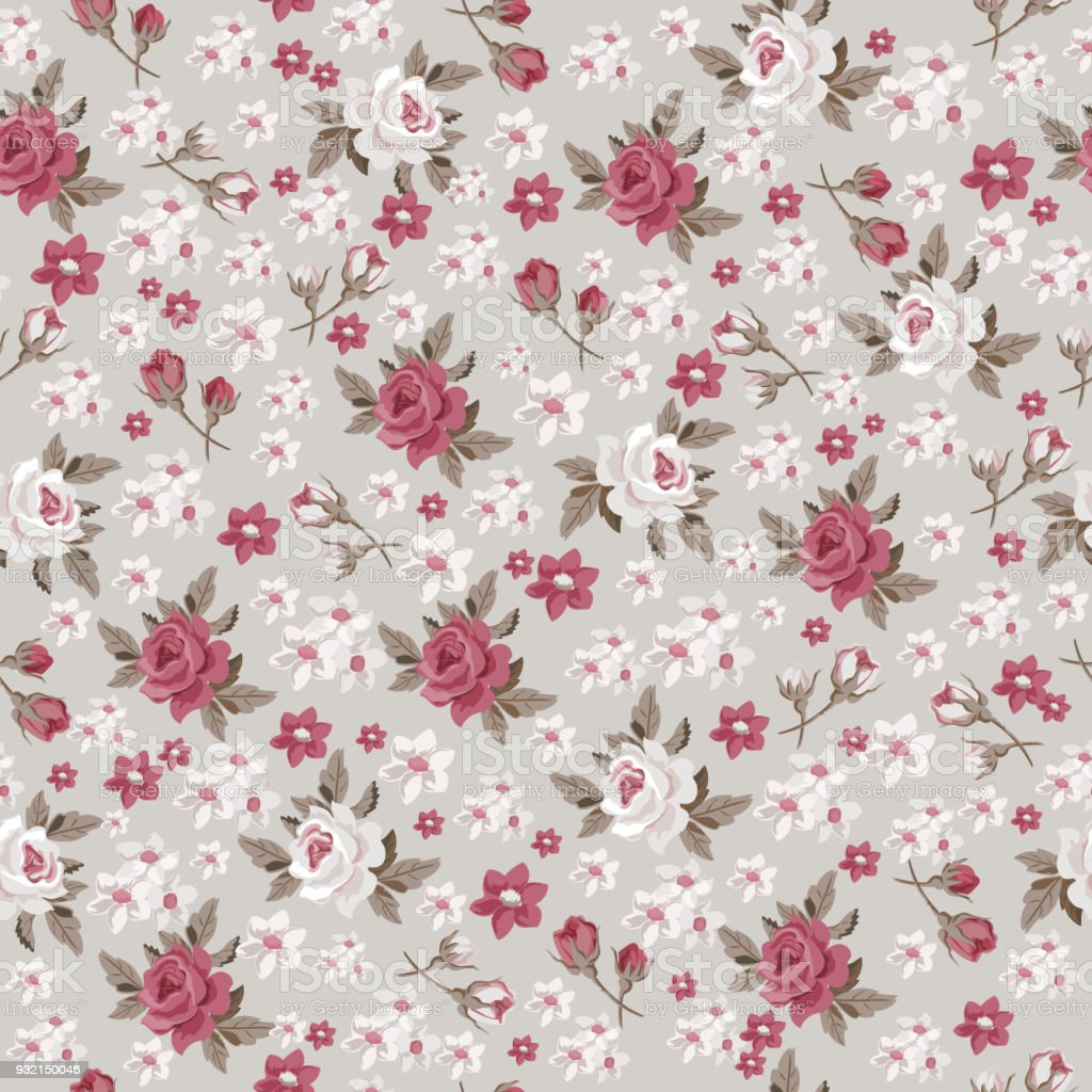 Seamless vintage floral pattern for gift wrap and fabric design -  Illustration .