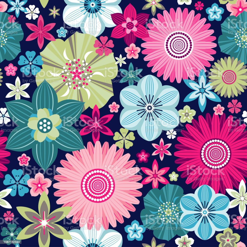 Seamless Vintage Floral Pattern With Flowers On Dark Background