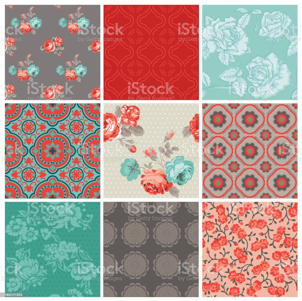 Seamless Vintage Flower Background Set royalty-free seamless vintage flower background set stock vector art & more images of backgrounds