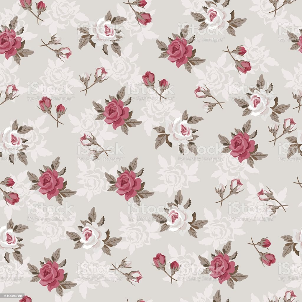 Seamless Vintage Flower Pattern For Gift Wrap And Fabric ...
