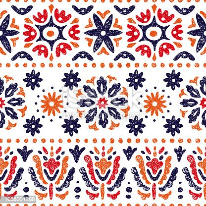 Seamless vintage pattern. Horizontal lines on a white background. Abstraction, flowers, ethnic and tribal motifs.