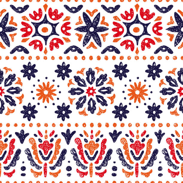 Seamless vintage pattern. Horizontal lines on a white background. Abstraction, flowers, ethnic and tribal motifs. Vector illustration. Seamless vintage pattern. Horizontal lines on a white background. Abstraction, flowers, ethnic and tribal motifs. mexico stock illustrations