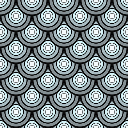 seamless vintage pattern of overlapping shells in art deco style.