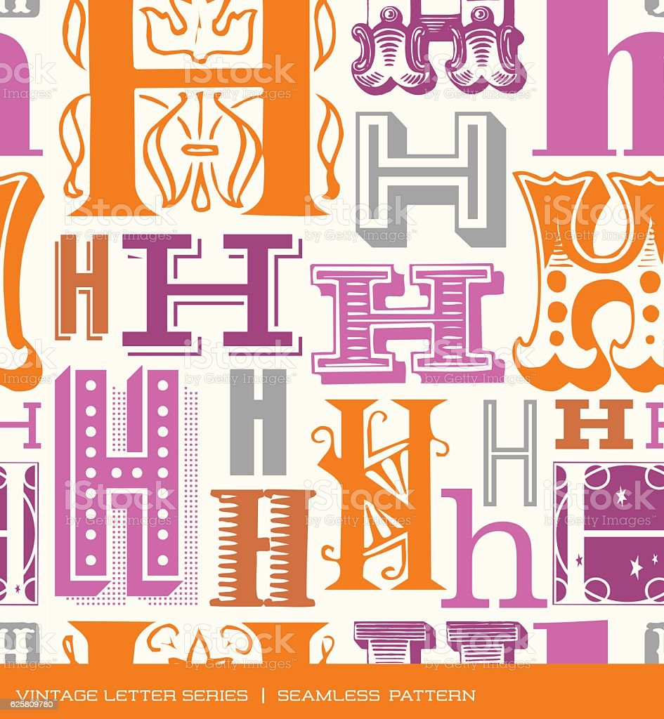 Seamless Vintage Pattern Of The Letter H In Retro Colors Stock ...