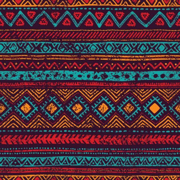 seamless vintage pattern - tribal pattern stock illustrations, clip art, cartoons, & icons