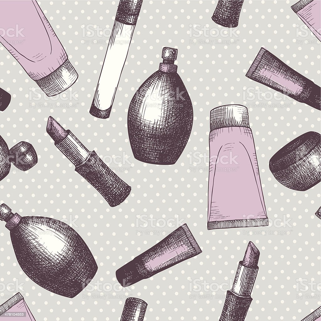 Seamless vintage pattern with graphic cosmetics. royalty-free seamless vintage pattern with graphic cosmetics stock vector art & more images of adult