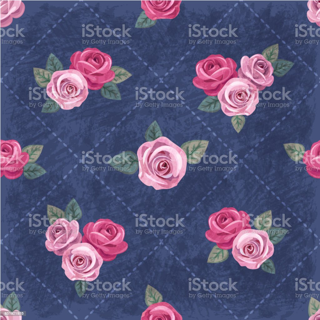 Seamless Vintage Romantic Pattern With Pink Roses On Dark Blue