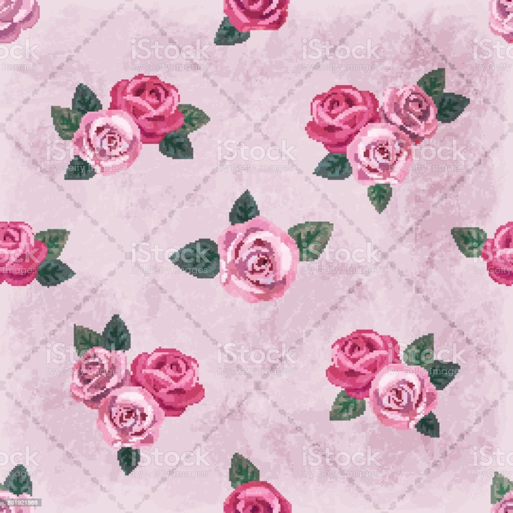 Seamless Vintage Romantic Pattern With Pink Roses On Shabby