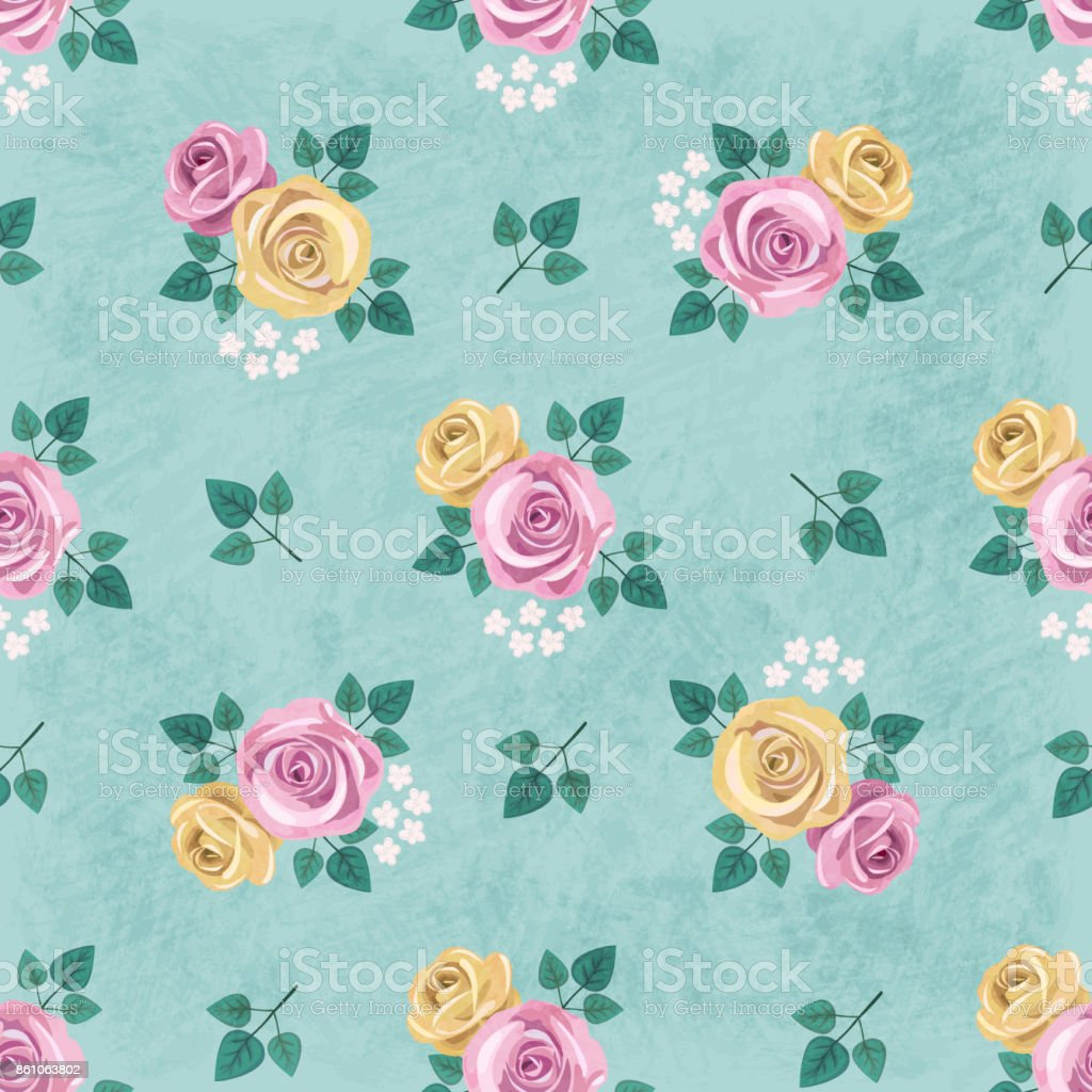 Seamless Vintage Romantic Pattern With Yellow And Pink Roses And