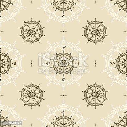 istock Seamless vintage ship wheel pattern 1058935578