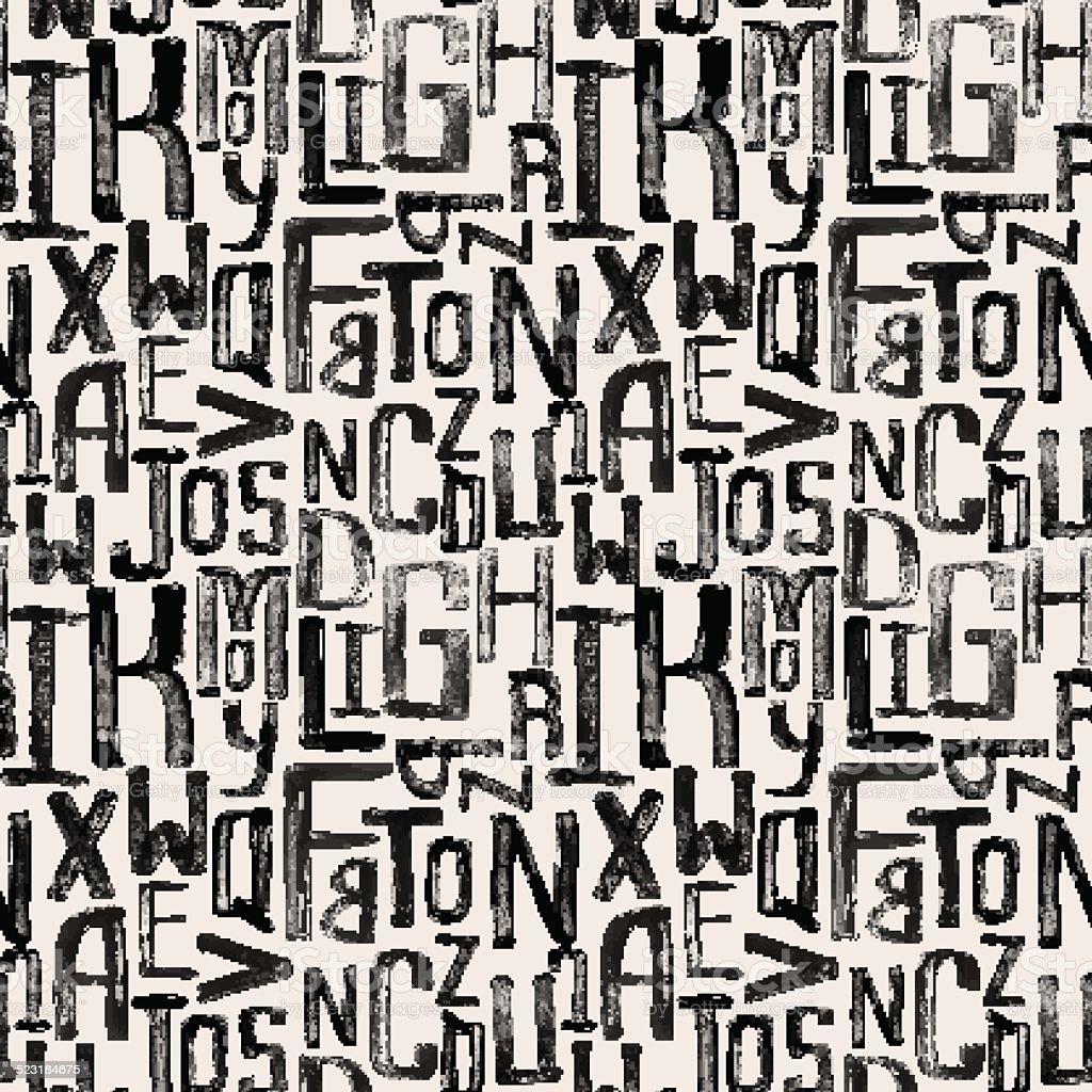 Seamless vintage style pattern, uneven grunge letters of random size vector art illustration