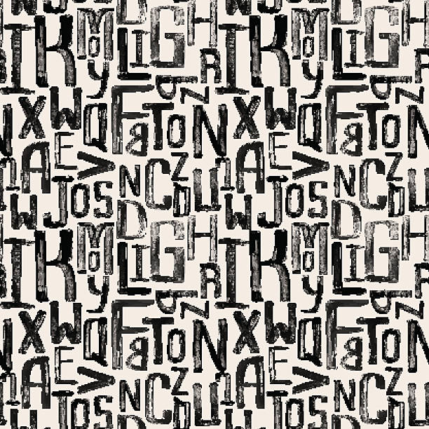 seamless vintage style pattern, uneven grunge letters of random size - alphabet backgrounds stock illustrations