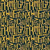 Seamless vintage style pattern, uneven grunge letters of random size
