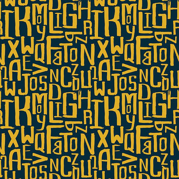Seamless vintage style pattern, uneven grunge letters of random Seamless vintage style pattern, uneven grunge letters of random size alphabet backgrounds stock illustrations