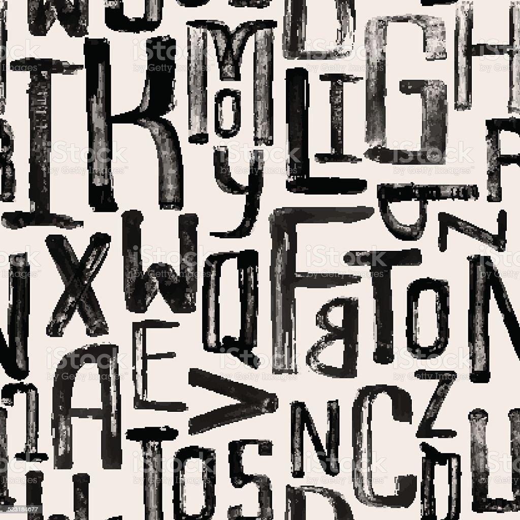 Seamless vintage style pattern, uneven grunge letters of random vector art illustration