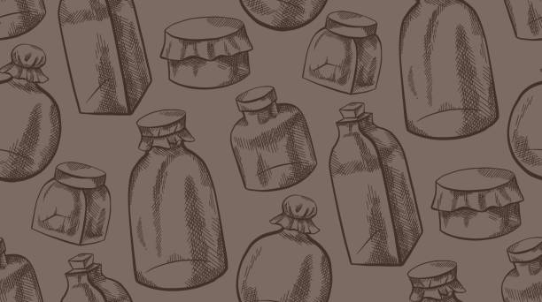 Seamless vintage texture with sketchy glass jars and flasks with hatching. Natural medicine. Ointments and drugs. Vector pattern Seamless vintage texture with sketchy glass jars and flasks with hatching. Natural medicine. Ointments and drugs. Vector pattern for fabrics, covers, wallpapers and your creativity. drawing of a glass liquor flask stock illustrations