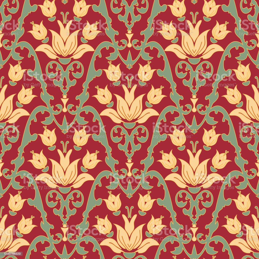 Seamless Vintage Wallpaper Design With White Lilies On Dark Red