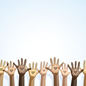 Vector illustration of some multi-cultural hands, for a charitable or diversity theme.