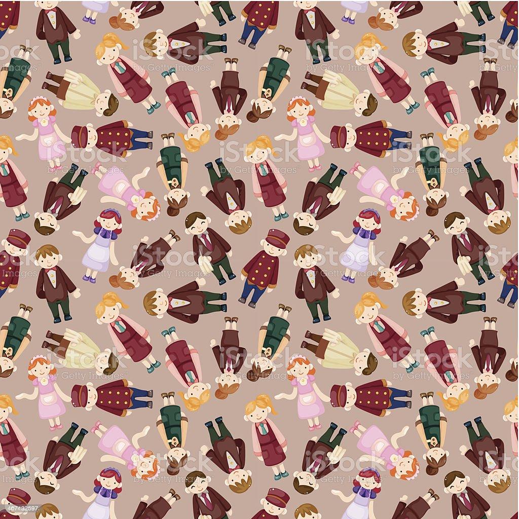 seamless waiter and waitress pattern royalty-free stock vector art