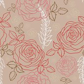 Roses in seamless pattern. High resolution jpg file included.