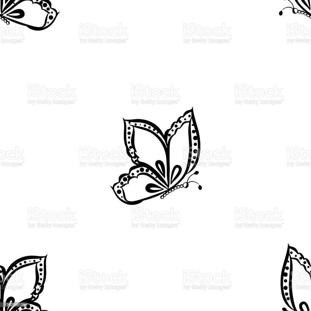 Seamless Wallpaper Black And White Background Butterfly Is Flying