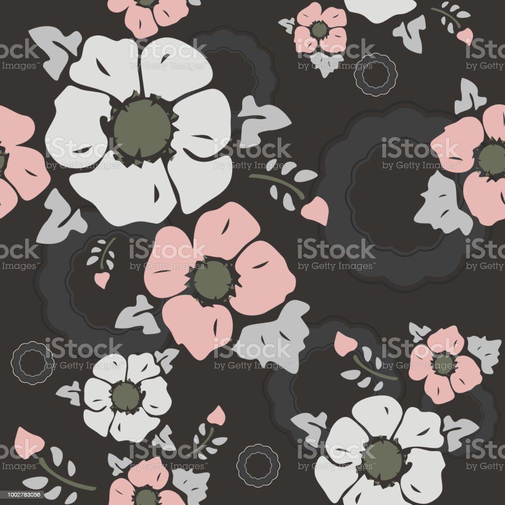 Nahtlose Tapeten Nostalgische Blumen Dunkler Hintergrund Stock
