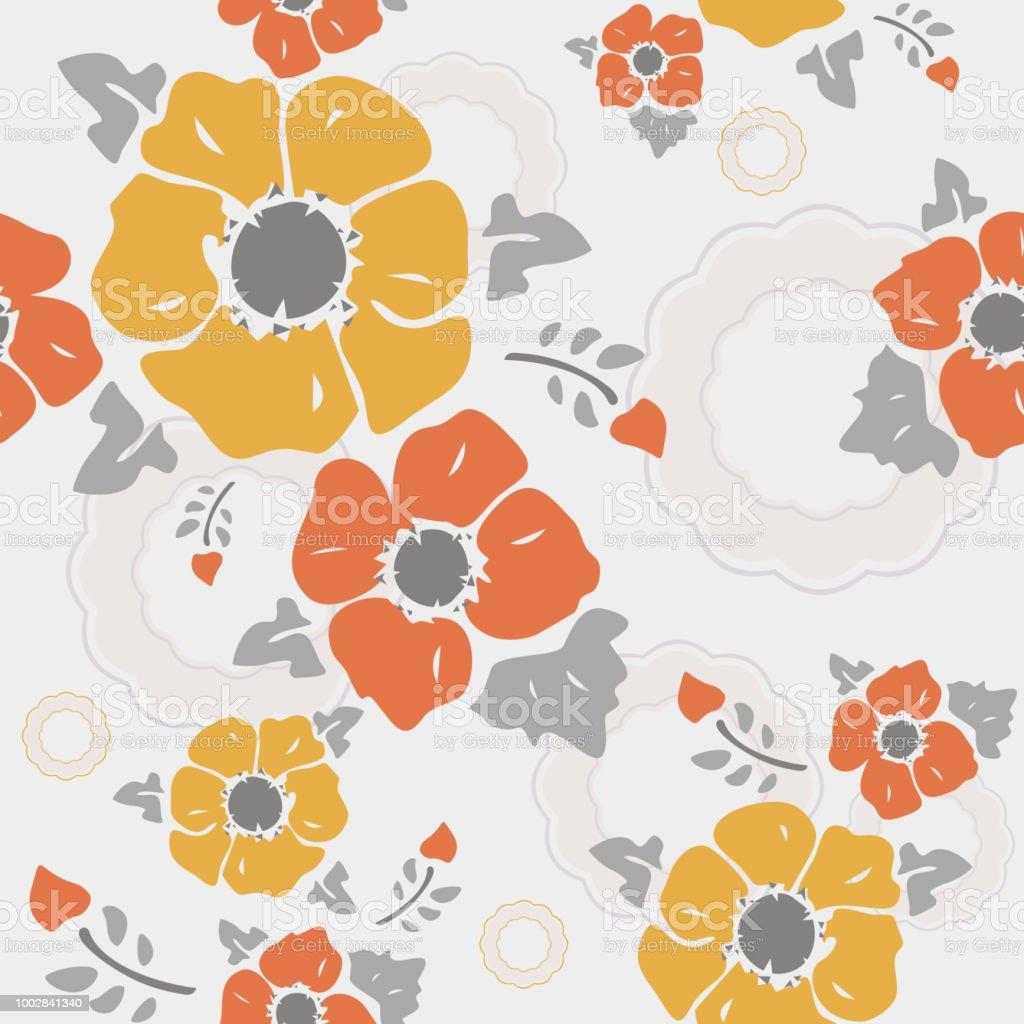 シームレスな壁紙ノスタルジックな花々明るい灰色の背景 イギリスの