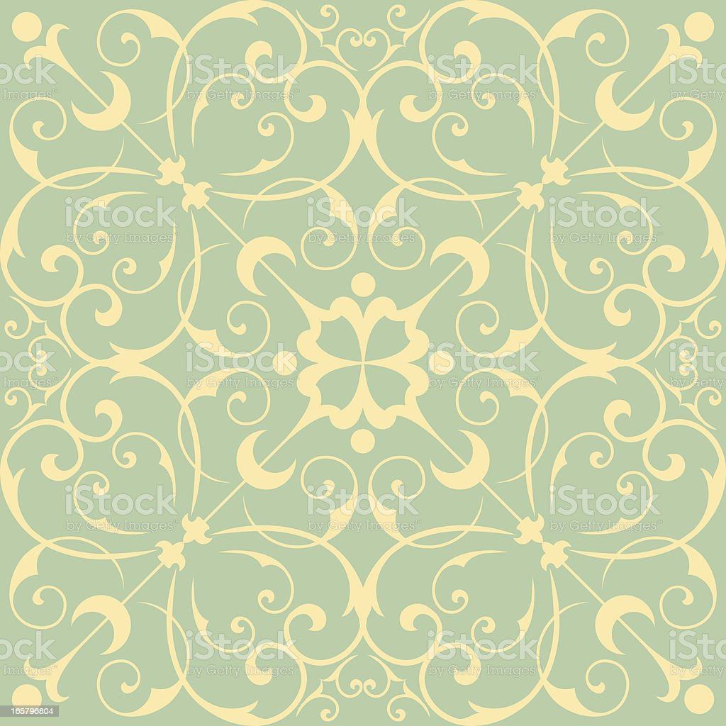 Seamless Wallpaper Pattern AI EPS 8 file.  Seamless pattern tile.  Tile is also included in swatches window.  Colors are global for easy editing. Art Nouveau stock vector