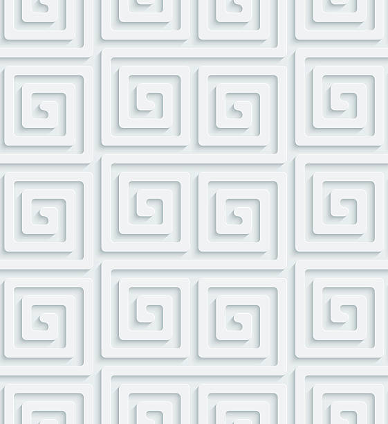 3D Seamless Wallpaper Pattern. Light Gray Perforated Paper with 3D Effect.  greco roman style stock illustrations