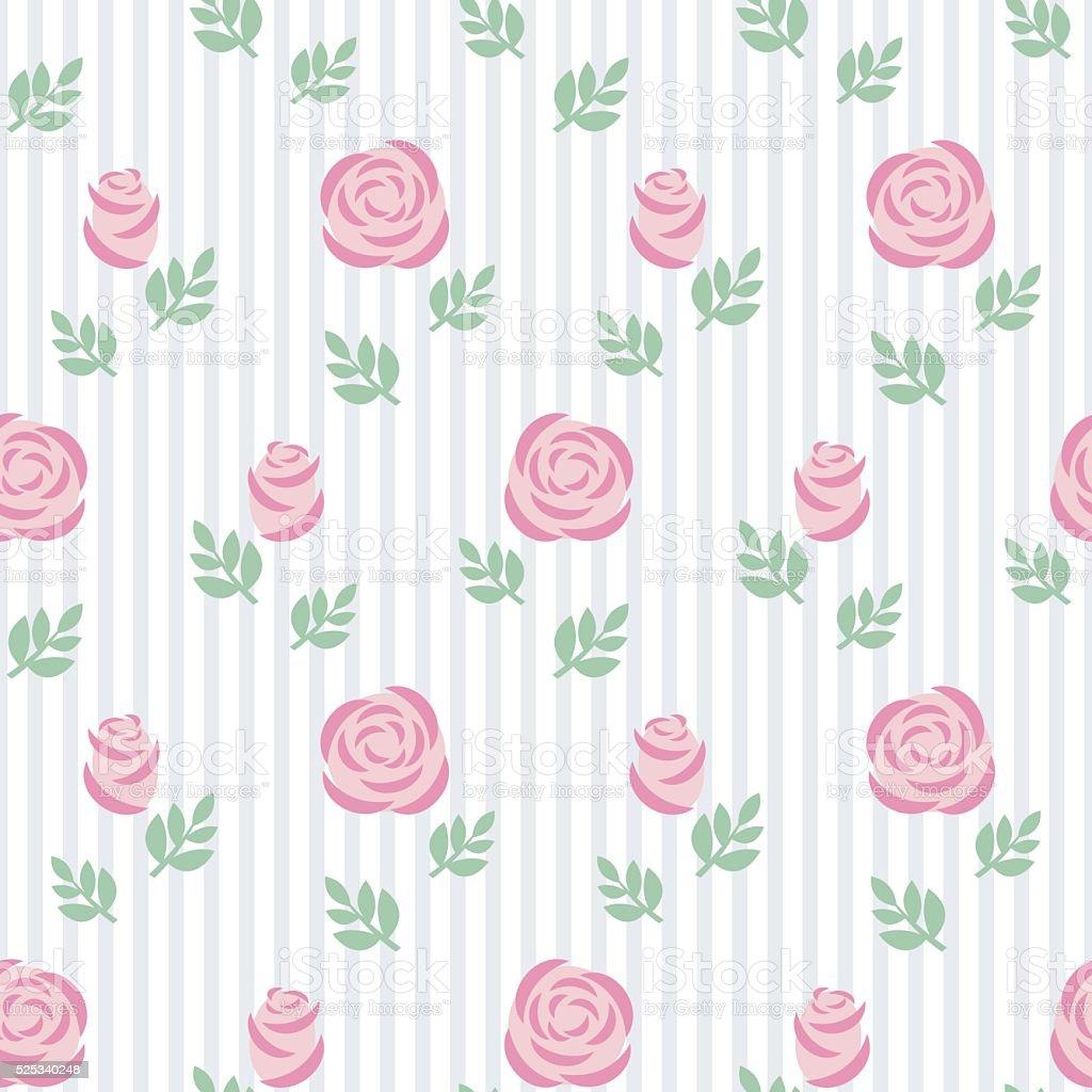 Senza Giunte Sfondo Rosa Rose Con Foglie Su Sfondo A Righe