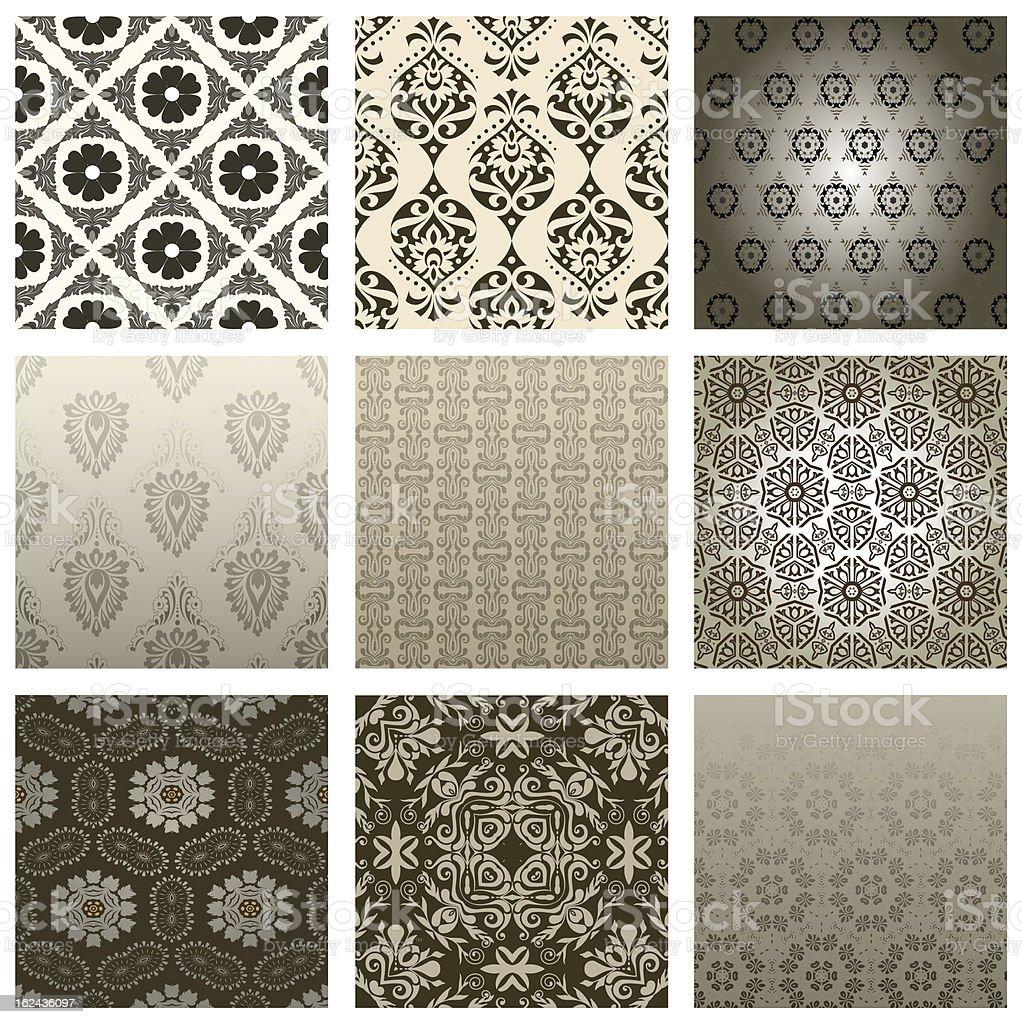 Seamless Wallpaper set royalty-free stock vector art
