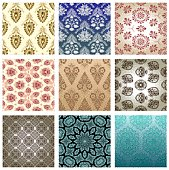 Wallpaper Pattern with some asymmetrical elements. 9 schemes are shown. Zoom in for details!