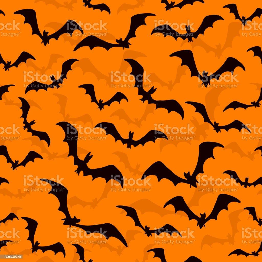 オレンジ色の背景にハロウィンのコウモリとシームレスな壁紙 お祝いのベクターアート素材や画像を多数ご用意 Istock