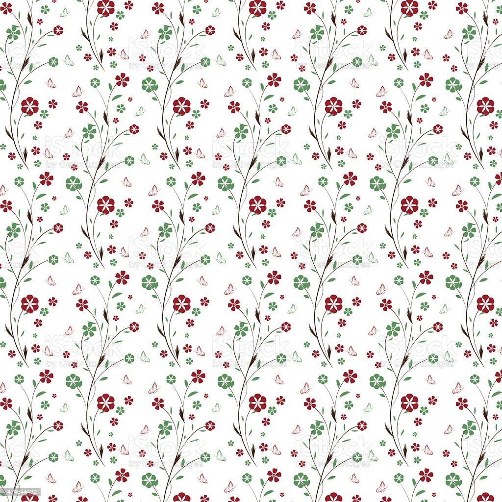 Papel tapiz sin costuras con flores y mariposas hojas - Papel pared blanco ...