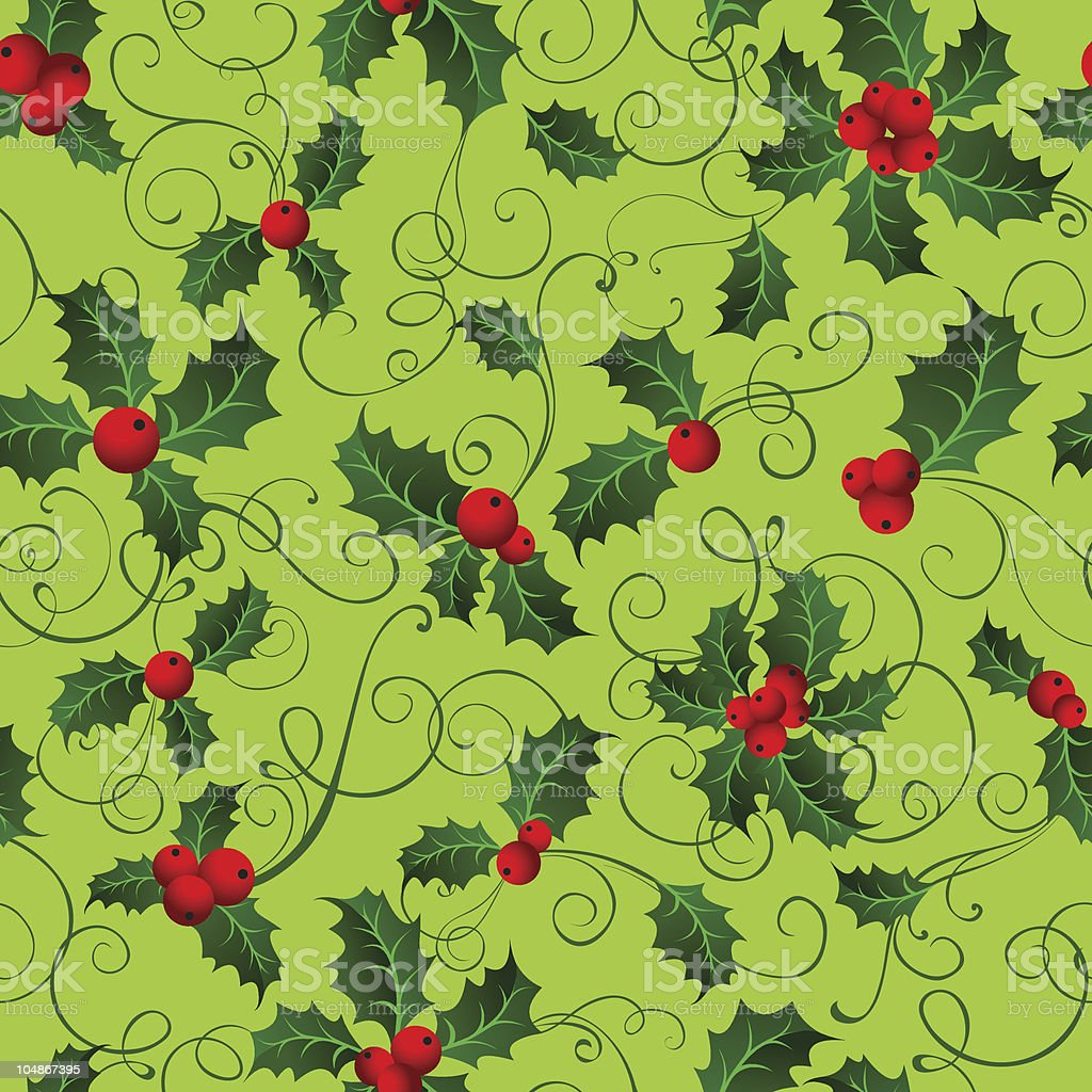 Seamless wallpaper with holly berries royalty-free stock vector art