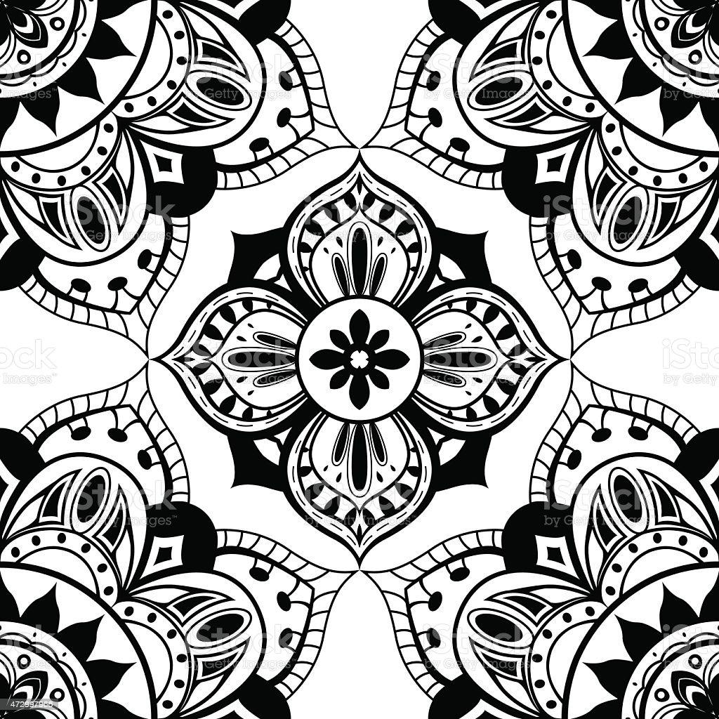 nahtlose tapete mit orientalischen symmetrische muster lizenzfreies nahtlose tapete mit orientalischen symmetrische muster stock vektor art - Tapete Orientalisches Muster