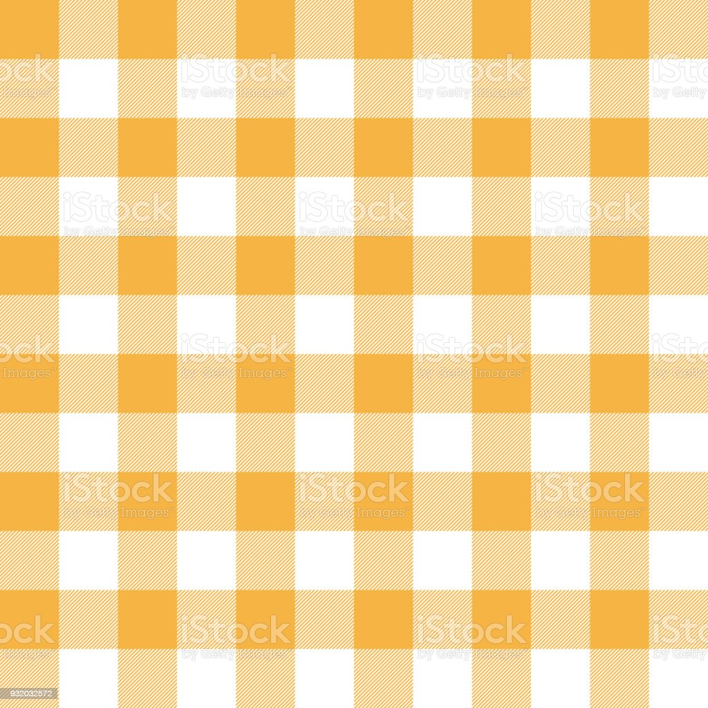 シームレスな暖かい黄色ギンガム チェック パターンの壁紙の背景